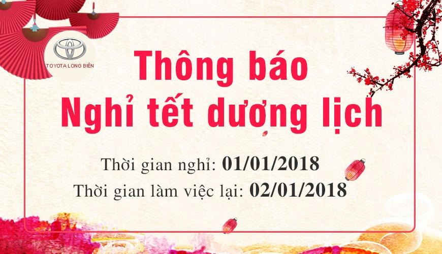 Toyota Long Biên Thông báo Lịch nghỉ tết dương lịch 2018